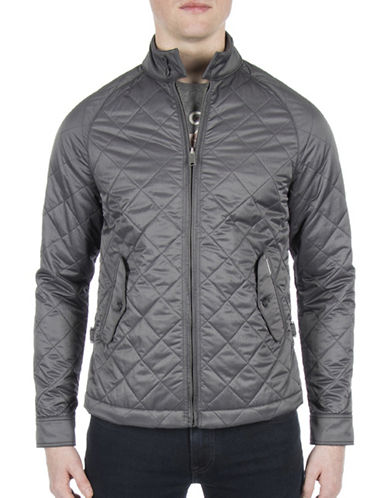 Ben Sherman Diamond Quilt Jacket-GREY-XX-Large