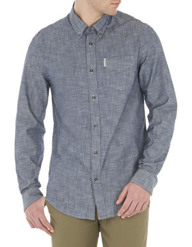 Ben Sherman Heathered Cotton Sport Shirt-BLUE-X-Large