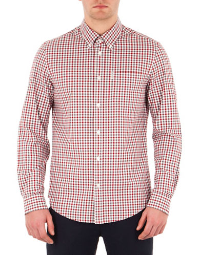 Ben Sherman Mod-Fit House Gingham Sport Shirt-WHITE-X-Large