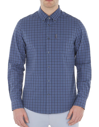 Ben Sherman Mod-Fit House Gingham Sport Shirt-BLUE-X-Large