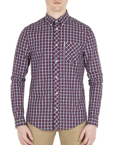 Ben Sherman Mod-Fit House Check Sport Shirt-RED-Medium