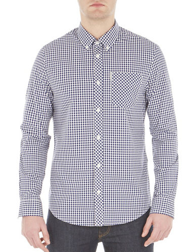 Ben Sherman Core Gingham Cotton Sport Shirt-BLUE-Small