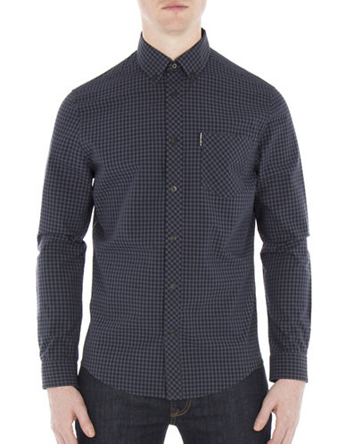 Ben Sherman Core Gingham Cotton Sport Shirt-GREY-X-Large