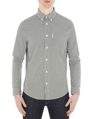 Ben Sherman Core Gingham Sport Shirt-GREEN-Large