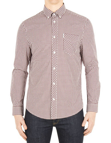 Ben Sherman Core Gingham Sport Shirt-RED-X-Large