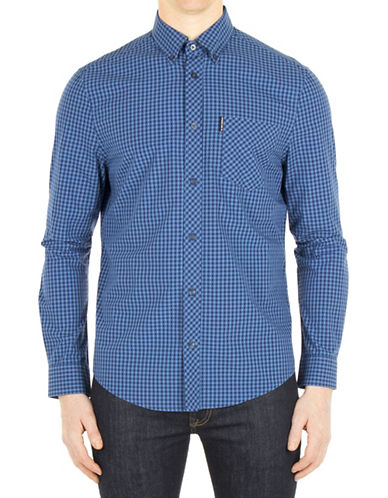 Ben Sherman Core Gingham Sport Shirt-BLUE-Small