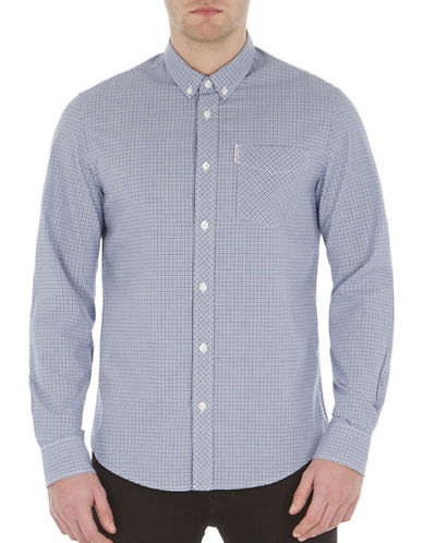 Ben Sherman Mini Gingham Cotton Sport Shirt-BLUE-Small