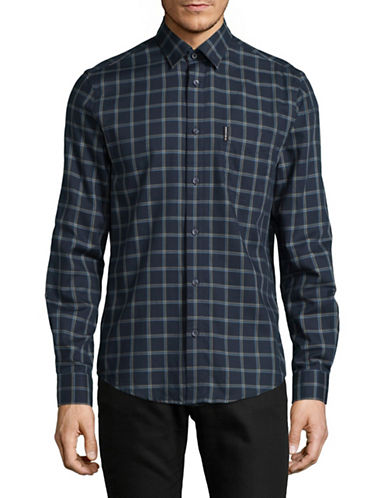 Ben Sherman Check Cotton Shirt-BLUE-Large