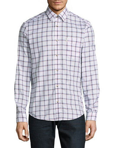 Ben Sherman Check Cotton Shirt-WHITE-Large
