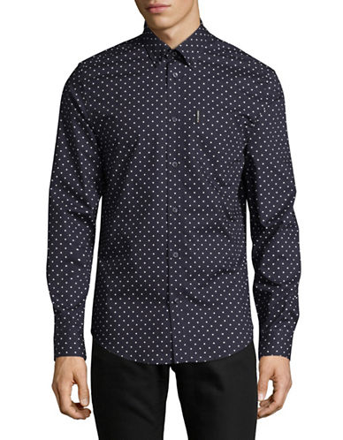 Ben Sherman Polka Dot Shirt-BLUE-Small