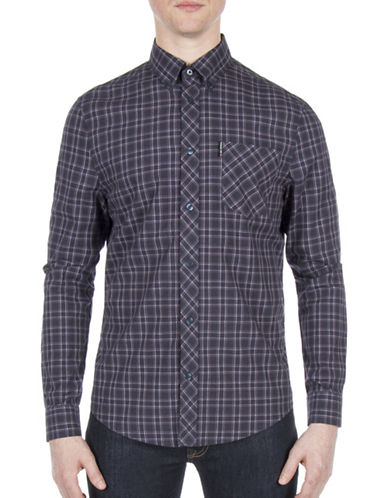 Ben Sherman Plaid Cotton Casual Button-Down Shirt-BLUE-Large