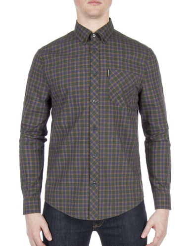 Ben Sherman Plaid Cotton Casual Button-Down Shirt-GREEN-Medium