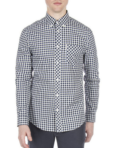 Ben Sherman Working Class Hero Oxford Check Sport Shirt-BLUE-Large