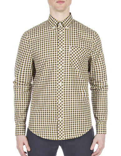 Ben Sherman Working Class Hero Oxford Check Sport Shirt-GOLD-Medium