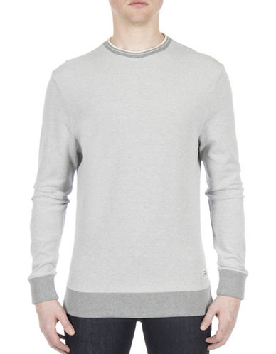 Ben Sherman Future Mod Tipped Honey Pique Sweatshirt-GREY-X-Large