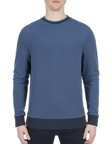 Ben Sherman Future Mod Tipped Honey Pique Sweatshirt-BLUE-Medium