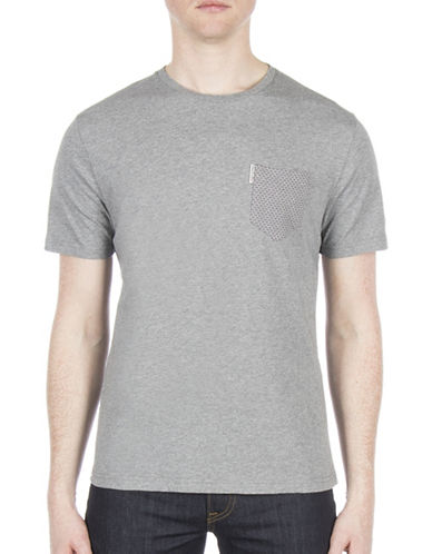 Ben Sherman Micro Jacquard Cotton Tee-SILVER-Small