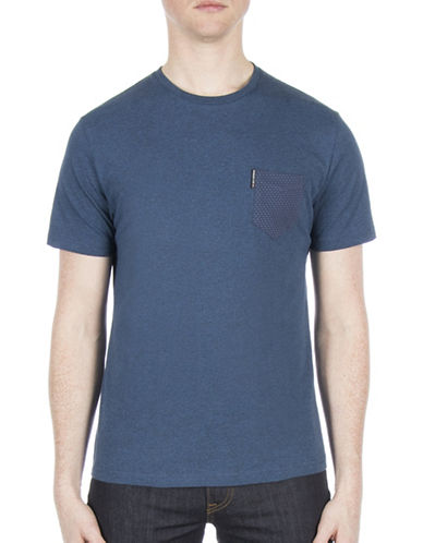 Ben Sherman Micro Jacquard Cotton Tee-BLUE-Small