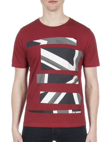 Ben Sherman Future Mod Union Jack Stripe Print Tee-RED-Medium
