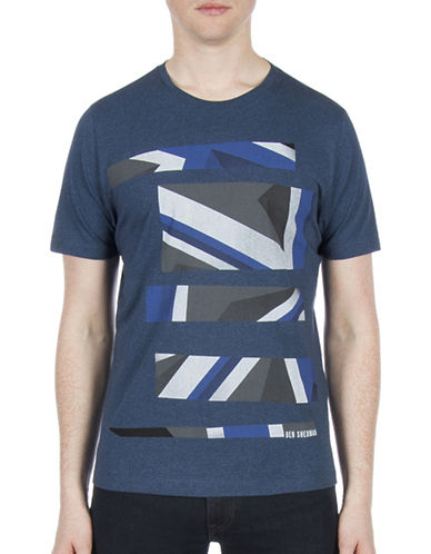 Ben Sherman Future Mod Union Jack Stripe Print Tee-BLUE-X-Large