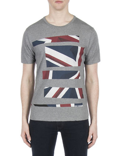 Ben Sherman Future Mod Union Jack Stripe Print Tee-GREY-Medium