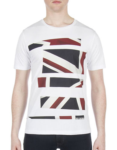 Ben Sherman Future Mod Union Jack Stripe Print Tee-WHITE-X-Large