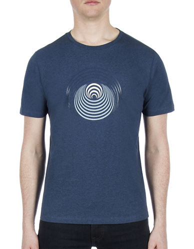 Ben Sherman Optical Target Cotton T-Shirt-BLUE-X-Large