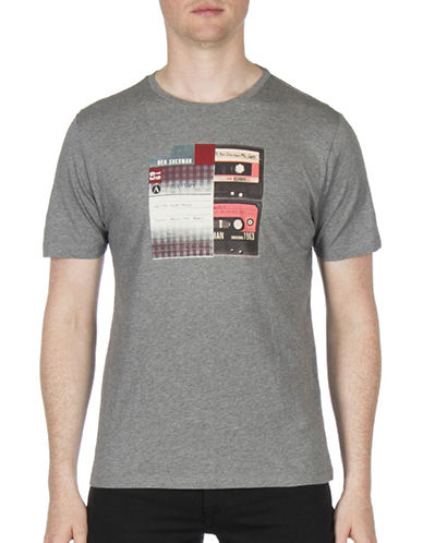 Ben Sherman Future Mod Mix Tape Graphic Tee-GREY-Medium