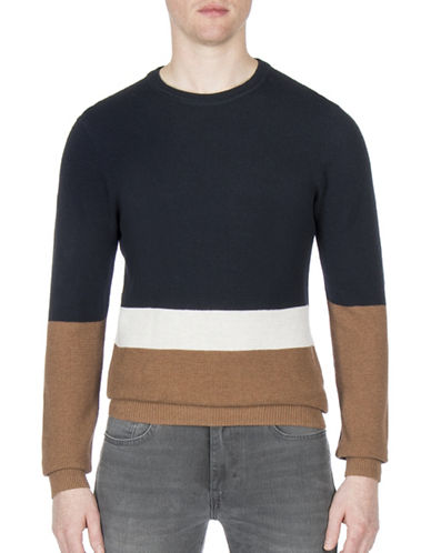 Ben Sherman Textured Cotton Sweater-BLUE-Medium