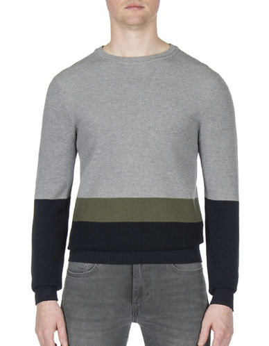Ben Sherman Colourblock Cotton Sweatshirt-GREY-Large