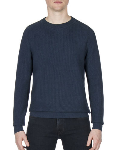 Ben Sherman Mouline Crewneck Cotton Sweatshirt-BLUE-X-Large