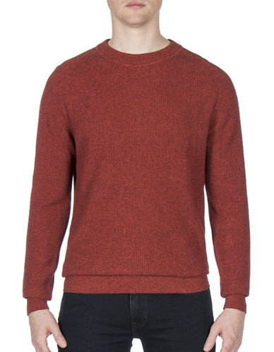 Ben Sherman Mouline Cotton Sweater-RED-Large