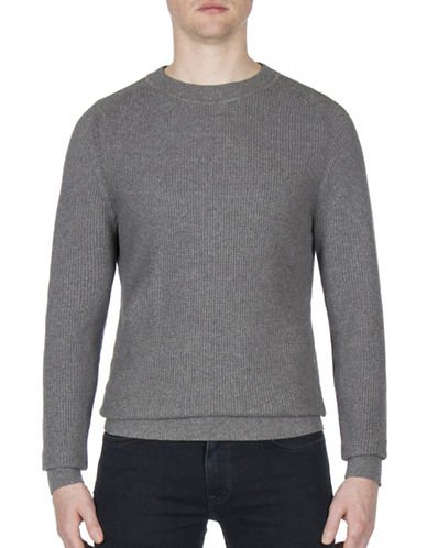 Ben Sherman Mouline Crewneck Cotton Sweatshirt-GREY-Medium