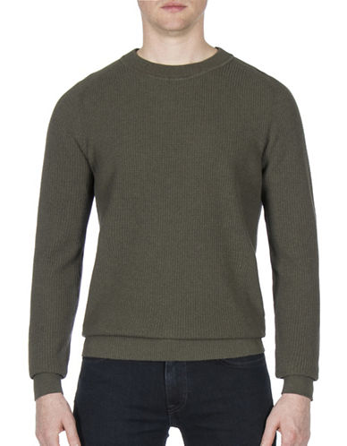 Ben Sherman Mouline Cotton Sweater-GREEN-Small
