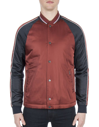 Ben Sherman Snap Front Luxe Bomber Jacket-COPPER-Large