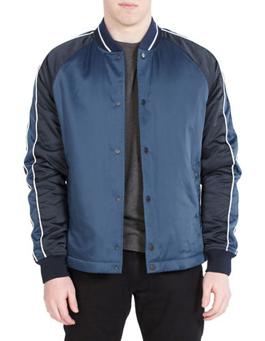 Ben Sherman Snap Front Luxe Bomber Jacket-BLUE-Large