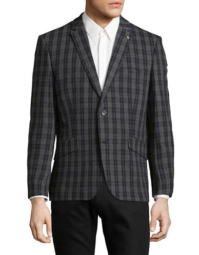 Ben Sherman Checkered Wool-Blend Blazer-BEIGE-38