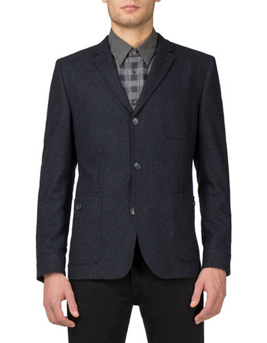 Ben Sherman Modern Dandy Wool-Blend Utility Blazer-NAVY-44 Tall