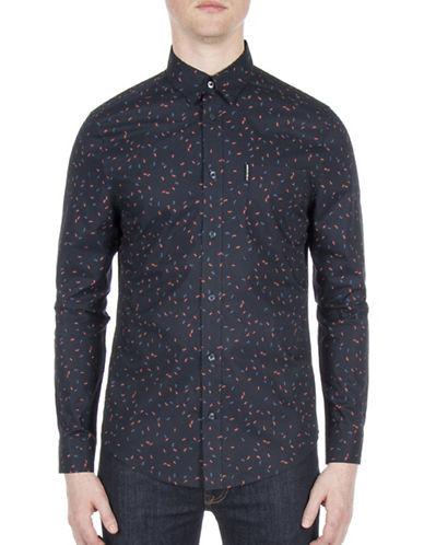 Ben Sherman Future Mod Scattered Geo Sport Shirt-BLUE-Large