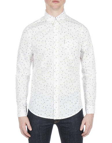 Ben Sherman Future Mod Scattered Geo Sport Shirt-WHITE-XX-Large