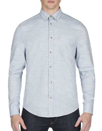 Ben Sherman Pinstripe Cotton Casual Button-Down Shirt-WHITE-X-Large