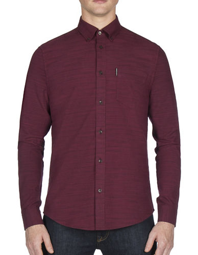 Ben Sherman Pinstripe Cotton Casual Button-Down Shirt-PURPLE-Large