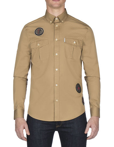 Ben Sherman Future Mod Twisted Wheel Sport Shirt-BEIGE-Large