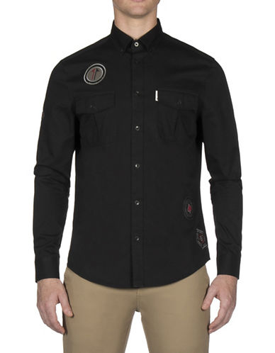 Ben Sherman Future Mod Twisted Wheel Sport Shirt-BLACK-X-Large