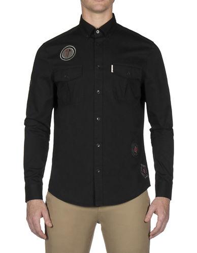 Ben Sherman Future Mod Twisted Wheel Sport Shirt-BLACK-XX-Large