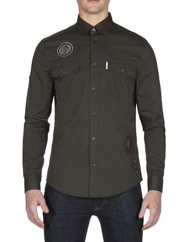 Ben Sherman Future Mod Twisted Wheel Sport Shirt-DARK GREEN-Medium