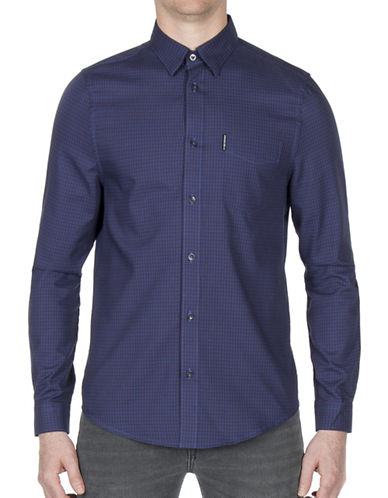 Ben Sherman Dogtooth Check Sport Shirt-PURPLE-X-Large
