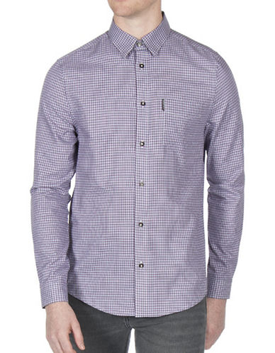 Ben Sherman Dogtooth Check Sport Shirt-PURPLE-Small