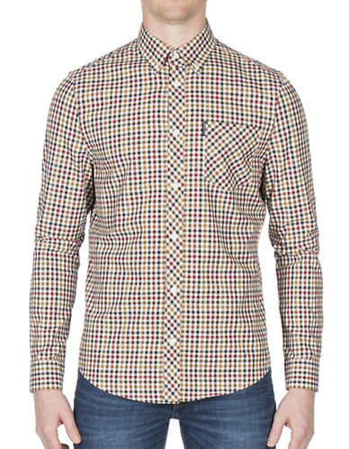 Ben Sherman Gingham Cotton Casual Button-Down Shirt-BEIGE-Medium