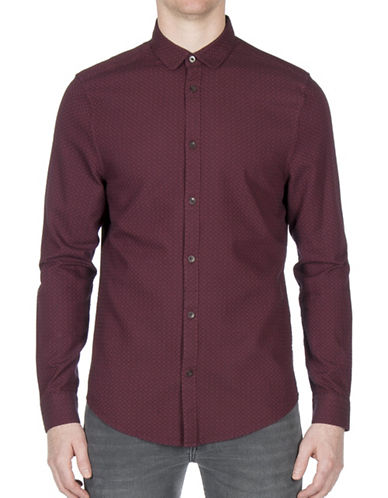 Ben Sherman Dobby Dogtooth Cotton Casual Button-Down Shirt-PURPLE-Small